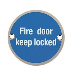 Fire Door Keep Locked Sign 76mm